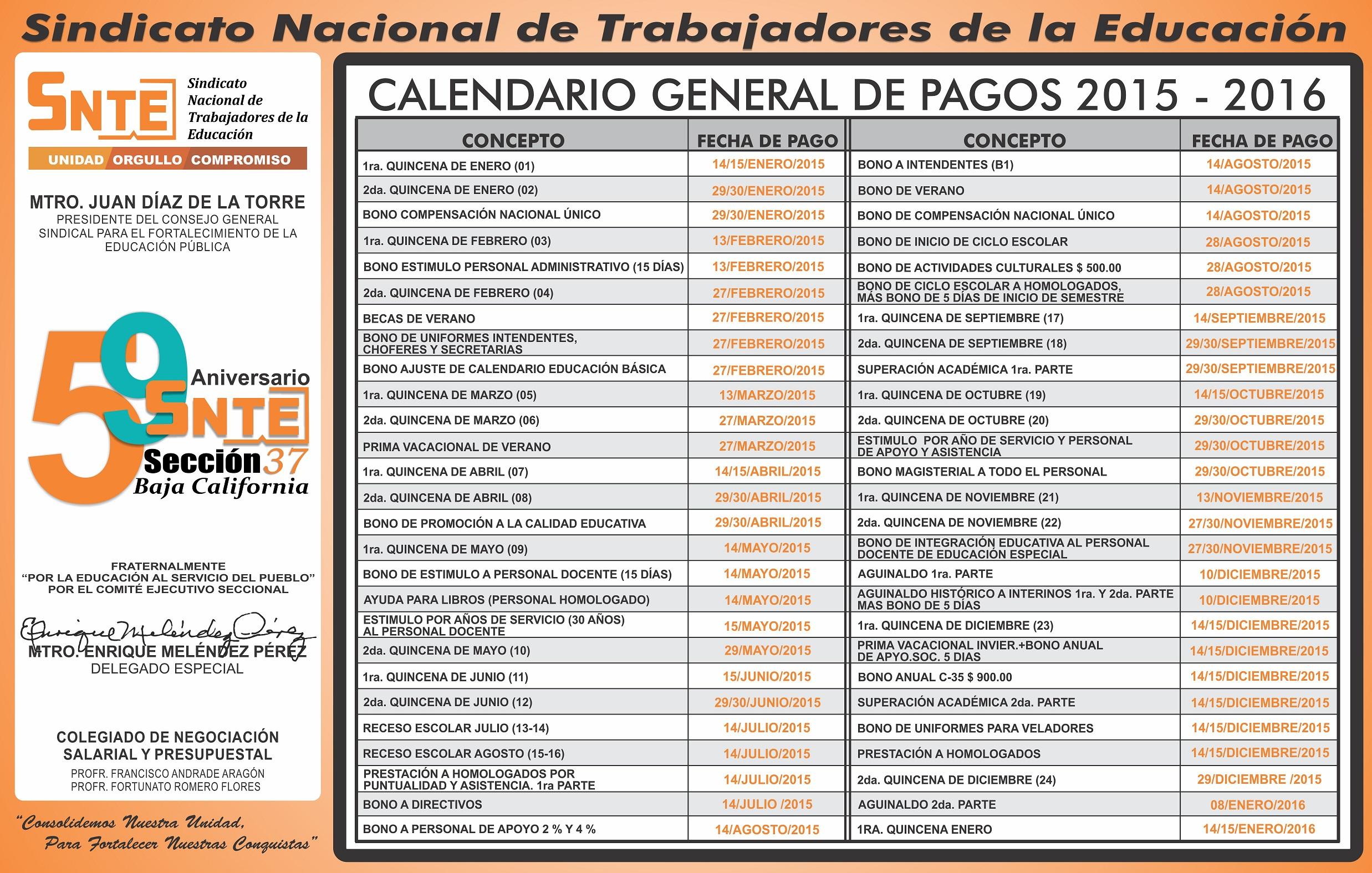 jpeg 1267kb calendario de pagos 2015 homologados dof gob mx general de ...