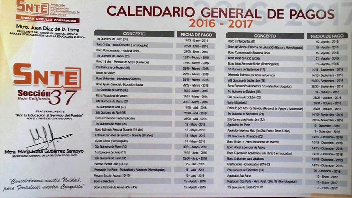 Calendario General de Prestaciones 2016