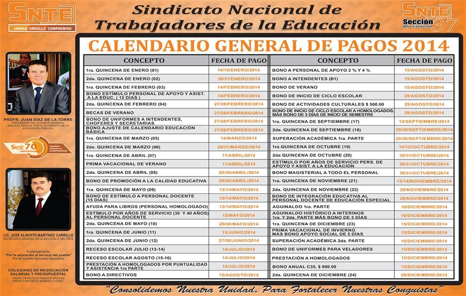 Calendario General de Pagos 2014